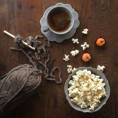 •••Tonight it's popcorn, tea, crochet, Grey's Anatomy, Scandal and little pumpkin truffles almost to cute to eat...almost •••