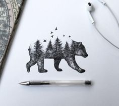 ... Tree View In Walking Bear Body Tattoo Stencil Design | Golfian.com