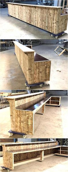 The furniture pieces on the wheels are easy to transfer anywhere as there is no need to pick them up by hand, this giant wood pallet bar idea is great for those who are planning to open a bar. The size can be decreased if the bar area is not spacious. Palet Bar, Outdoor Pallet Bar, Wood Pallet Bar, Wooden Pallets, Outdoor Bars, Bar En Palette, Palette Deco, Bar Furniture, Pallet Furniture