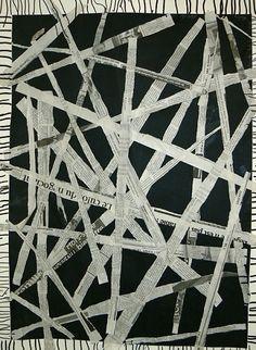 collage bandes de papier journal