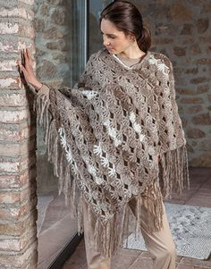 Book Woman Accessories 10 Autumn / Winter | 24: Woman Poncho | Camel-Off-white