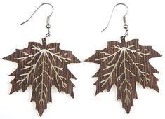 Maple Leaf,  Laser Cut, Wood Earring
