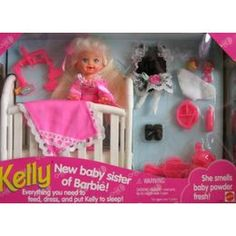 Kelly's debut... she came with a crib and extra outfit. The Kelly doll smelled like baby powder, too!