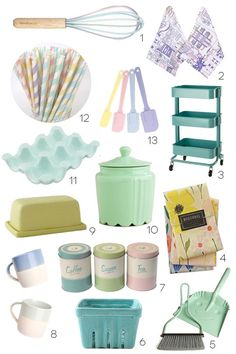 Pastel Kitchen Finds:  Under $50--the egg crate, the rolling crate, and the dustpan!