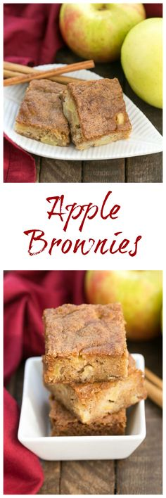 Apple Brownies Chock full of apple chunks and cinnamon spiced Fruit Recipes, Brownie Recipes, Apple Recipes, Fall Recipes, Sweet Recipes, Baking Recipes, Cookie Recipes, Dessert Recipes, Recipies