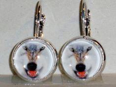 Ohrringe Wolf Hänger Metall Legierung Ohrschmuck Modeschmuck Glas ohne Stein