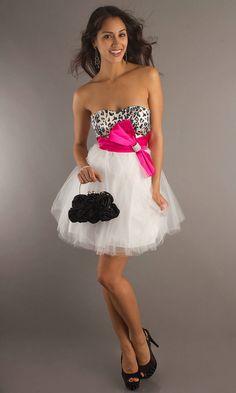Animal Print Bodice Bow A Line Short Strapless Sweetheart Empire Waist White Prom Dresses 2012_3.jpg (955×1593)