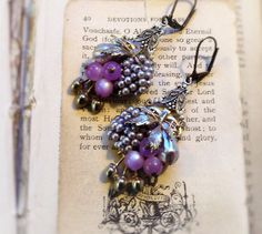On Sale Luscious Fruit,Vintage Violet,Bodacious Modern Miriam Haskell Style,Purple Pearl & Moonstone Altered Assemblage Earrings,Hollywood H by HollywoodHillbilly on Etsy