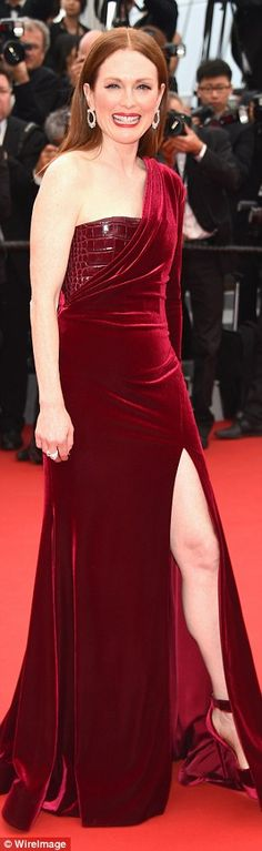 Working it: Julianne Moore chose a velvet claret number and perfectly matching shoes for t...