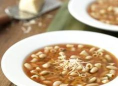 Pasta y Fagioli Soup This traditional Italian soup is made with canellini beans, pasta, rosemary and tomatoes-a warm and savory main dish or starter soup.