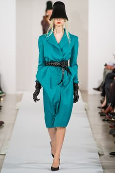 Oscar de la Renta Fall 2013. this black leather belt reminds me of the the one from Galliano's last couture collection for the House of Dior.