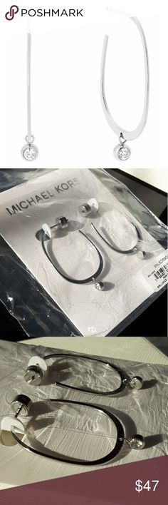 "Michael Kors CZ Stud Hoop Silvertone Earrings NWT Brand New With Tags Cubic Zirconium Studded Small Silvertone Hoops From Michael Kors' Brilliance Collection, Apx 1"" Diameter, Logo Stamped Post Back Closure, Stainless Steel, The Epitome Of Fine Finesse, Comes With Elegant Michael Kors Gift Box, Travel Bag & Care Booklet Michael Kors Jewelry Earrings"
