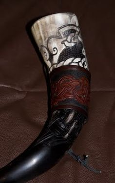 Norse and Viking Leather Art Bone Jewelry and Drinking Horns by Wodenswolf: Recent Works: Solar Kult Drinking Horn
