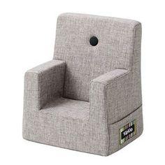 By KlipKlap Kids Chair, multi grey w. grey button. 1599,-
