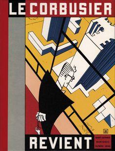 Le Corbusier kijkt terug op zijn werk in de cover-tekening van Le Corbusier Revient uit 1987.  Armand Brulhart; Maison des jeunes et de la culture de Saint-Gervais (Geneve); Papiers Gras (Geneve); Centre Marignac (Grand-Lancy) 1987