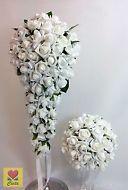ARTIFICIAL FLOWER WHITE FOAM  ROSE FLOWERS  BRIDAL TEARDROP WEDDING BOUQUET SET