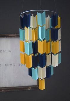 Blue Cream and Mustard Aztec Arrow Paper Mobile by TrueLoveAndPaper