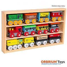 Amazon.com: Orbrium Toys 12 Pcs Wooden Engines & Train Cars Collection Compatible with Thomas Wooden Railway, Brio, Chuggington: Toys & Games