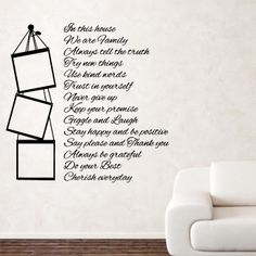 HOUSE RULES wallstickers family love hope mural bedroom living room quote art