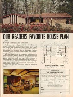 Ranch Style House Plans Retrospace the Vintage Home 19 Better Homes and Gardens 1972 Mid Century Ranch, Mid Century House, The Plan, How To Plan, Br House, Oaks House, Vintage House Plans, Better Homes And Gardens, House Floor Plans