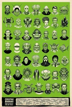 Creeping Horror From the Depths of Time and Space! Retro Horror, Horror Icons, Vintage Horror, Weird Vintage, Vintage Type, Etsy Vintage, Horror Movie Tattoos, Horror Movie Characters, Monster Horror Movies