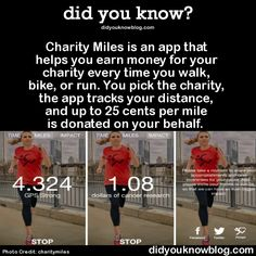 HOW COOL IS THIS? Charity Miles is an app that helps you earn money for your charity every time you walk, bike, or run. You pick the charity, the app tracks your distance, and up to 25 cents per mile is donated on your behalf. click link for details: http://www.charitymiles.org/