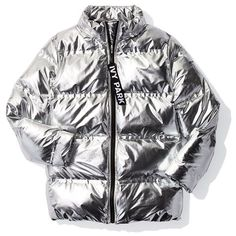Women's Ivy Park Metallic Puffer Coat ($200) ❤ liked on Polyvore featuring outerwear, coats, puffer coat, puffy coat, silver puffer coat, hooded coat and puff coat