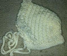 Baby bonnet. Modified pattern for size. Super cute