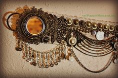 Tribal Fusion Belt- Smoke and Mirrors- 39-42 Inches- Shi Shas, Tribal Belly Dance, Vaudeville, Heavy Beadwork. $325.00, via Etsy.