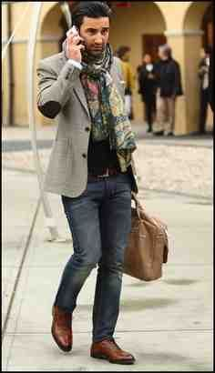 This look is stylish dark jeans brown lace up shoes tweed jacket with elbow patches then to finish it of a beautiful coloured scarf