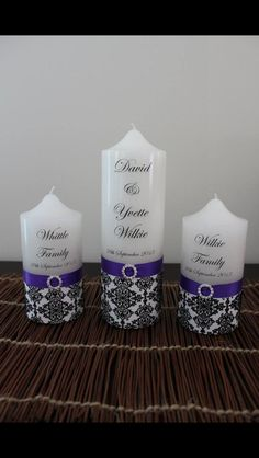 Wedding unity candles with decorative damask paper, ribbon & diamonte buckle.   Visit http://facebook.com/moderndesigns1 to see more products in my albums