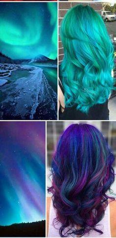 Northern lights hair inspiration  #rainbowhair #mermaidhair