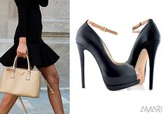 """""""Nobel"""" is a two-colour peep-toe pump crafted from flawless nappa leather and finished with an elegant and comfortable ankle strap >> http://shop.amari.bg/women-shoes-all/black-ankle-strap"""