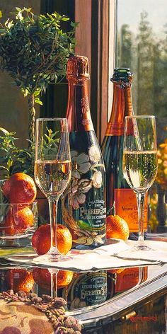 Limited edition giclee print on Canvas of Eric Christensen's original watercolor Sparkling Proposal featuring Perrier-Jouet and Veuve Clicquot champagnes. Art Du Vin, Champagne Moet, Champagne Brands, Champagne Party, Perrier Jouet, Wine Art, Festa Party, In Vino Veritas, Sparkling Wine
