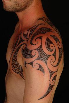 Maori Shoulder Fern #Tattoo, by Shane Gallagher Coley, currently working @ Chapel Tattoo, Melbourne, Australia