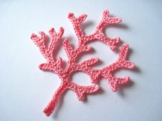 Crochet Coral Branch Applique in Pink for sale by Golden Lucy Crafts on Etsy.