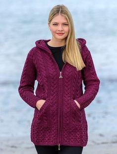 Aran Sweater Market - the home of Irish Aran sweaters. The Aran Sweater, also known as a Fisherman Irish Sweater, the famous original since quality authentic Aran sweater & Irish sweaters from the Aran Islands, Ireland. Long Knit Cardigan, Crochet Cardigan Pattern, Hoodie Pattern, Sweater Knitting Patterns, Knitted Coat Pattern, Aran Sweaters, Sweater Coats, Celtic Knot Designs, Coatigan