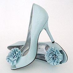 Vida Pale Blue Wedding Shoes with Flower