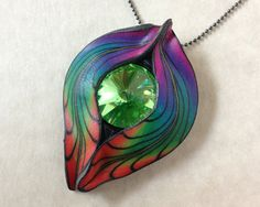 Jewelry Pendent necklace Swarovski rivoli polymer clay Millefiori floral Leaf nature new age fimo kato sculpy feather fantasy rainbow green