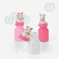 Pink Cowgirl Bubble Bottles - Oriental Trading  for a Sheriff Callie's Wild West party