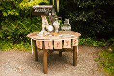 Rustic DIY wedding gift table - Compass Rose Gardens, Bodega Bay, CA