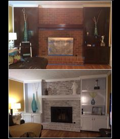 DIY fireplace remodel.  - Whitewash Brick -Sanded and repainted bookends with oil-base exterior Bear paint -Spray painted fireplace trim with ULTA-high heat spray paint.