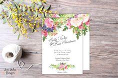 Soft Blossom Wedding Invitation Suite | DIY Printable or Printed with envelopes | Watercolor Floral | Enclosure Cards | Script | Elegant