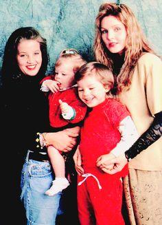 Priscilla Presley with her daughter Lisa Marie, son Navarone Garibaldi, and granddaughter Riley Keough, May 1990.