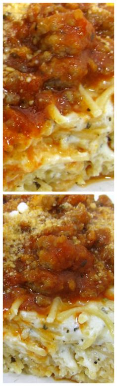 Baked Spasanga ~ Comes together quickly and is super cheesy... a great dish for a potluck or any other time to need to feed a crowd.