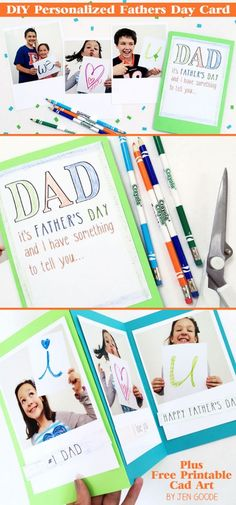 Tutorial and Free Printables! DIY Personalized Father's Day Card with Printable Art Kit designed by Jen Goode for @MyPrintly
