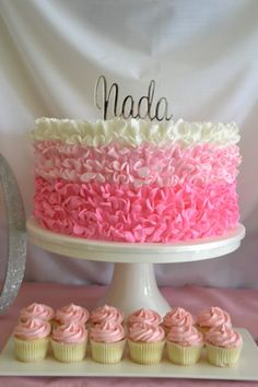 Pink Ombre 60th Birthday Cake