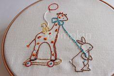 The Giraffe Ride Hand Embroidery PDF Pattern by bumpkinhill