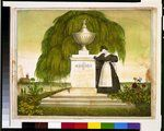 """Woman mourning by tomb with inscription, ""to the memory of Capt. John Williams, died April the 1, 1825""."" This lithograph by D.W. Kellogg & Co. shows a woman in mourning attire standing by a tomb. The weeping willow accompanies her, a traditional symbol of mourning, but there are also plants and blooms in the foreground, perhaps indicating rebirth in heaven."