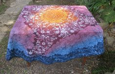 """Round Batik Tablecloth """"Sun and Flowers"""" on Polyester combining sunny yellow with dusty pink and blues by goldphinbatik on Etsy Picnic Blanket, Outdoor Blanket, Sell On Etsy, Dusty Pink, Tie Dye Skirt, Vibrant, Sun, Fine Art, Trending Outfits"""